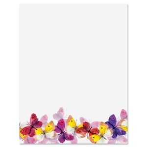 Watercolor Butterflies Letter Papers