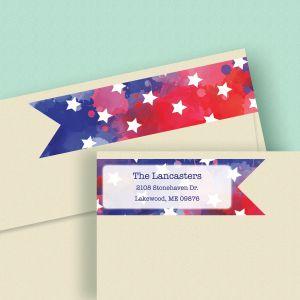 American Stars Wrap Around Address Labels