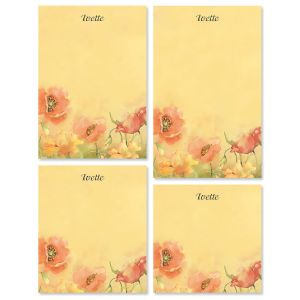 Poppies Personalized Memo Pad Set