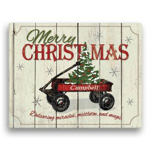 Personalized Christmas Wagon Canvas