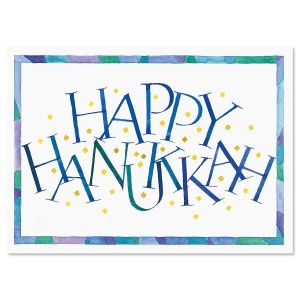 Personalized Hanukkah Calligraphy Card
