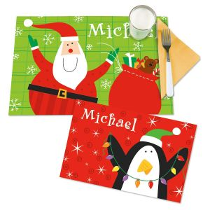 Santa/Penguin Kids' Personalized Christmas Placemat