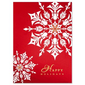 Nordic Snowflake Nonpersonalized Christmas Cards - Set of 14