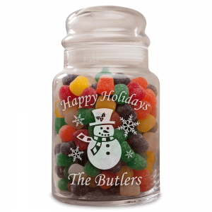 Snowman Personalized Treat Jar