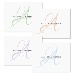 Initial Personalized Note Cards (4 Colors)