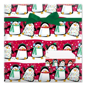 Festive Penguins Jumbo Rolled Gift Wrap and Labels