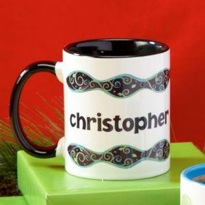 Swirls Personalized Name Mug