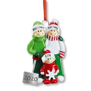 Snow Shovel Family Hand-Lettered Christmas Ornament