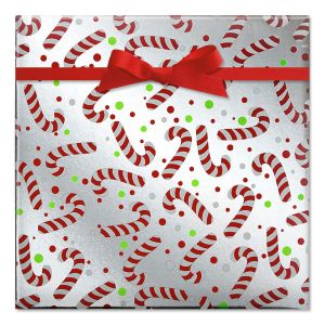 Candy Canes Foil Rolled Gift Wrap