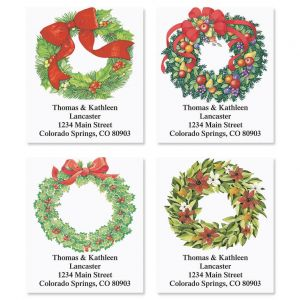 Christmas Wreath Address Labels  (4 designs)