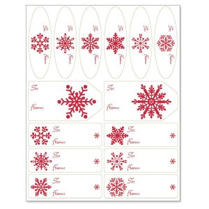 Snowflake on Red Matching Self-Stick Labels