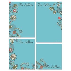 Paisley Blue Notepad Set