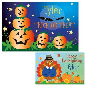 Jack-O'-Lanterns Autumn Personalized Kids' Placemat