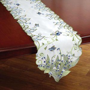 Blue Butterfly Cutwork Table Runner