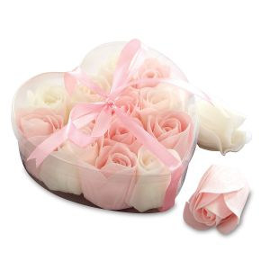 Romantic Pink and White Rose Soaps