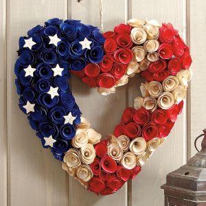 Wooden Patriotic Heart Wreath