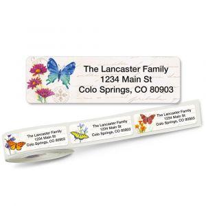 Butterflies & Flowers Rolled Address Labels  (5 Designs)