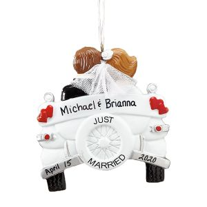 Just Married Hand-Lettered Christmas Ornament