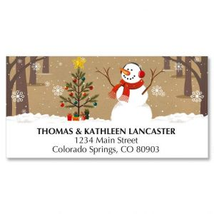 Snowman on Kraft Christmas Address Labels