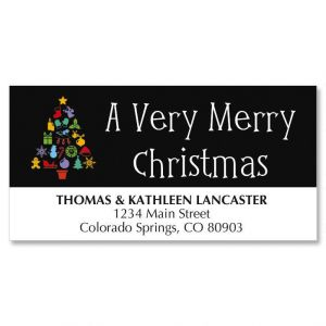 Tree on Black Christmas Address Labels