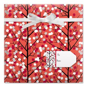 Branches & Dots Jumbo Rolled Gift Wrapand Labels