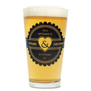 Pint Personalized Beer Glass - Home Wedding