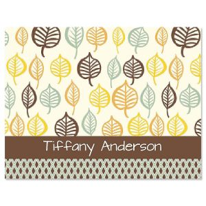 Leaf Patterns Personalized Note Cards