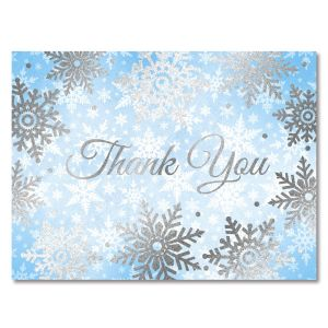 Deluxe Foil Shimmery Snowflakes Thank You Note