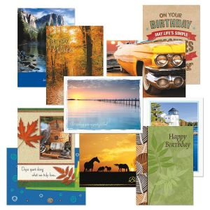 Scenic & Graphic Masculine Birthday Cards Value Pack