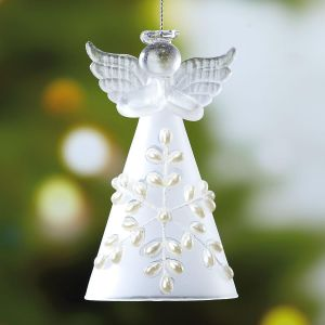 Glass Snow Angel Ornament