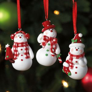 snowmen ornament trio