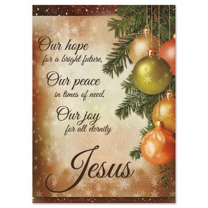 Pine Ornaments Religious Christmas Cards