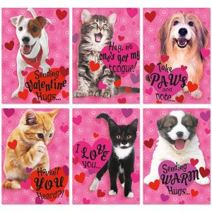 puppies and kittens valentines day cards value pack - Dog Valentines Day Cards
