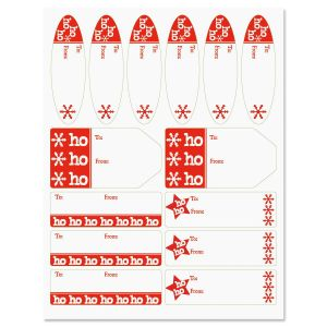 Ho Ho on White Matching Self-Stick Labels
