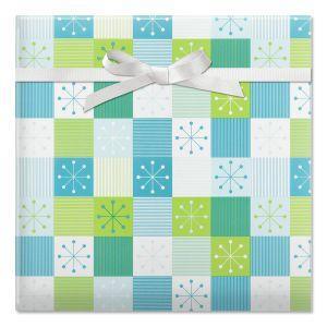 Blue Metal Snowflake Jumbo Rolled Gift Wrap