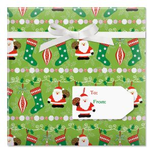 Holly, Jolly Christmas Jumbo Rolled Gift Wrap and Labels