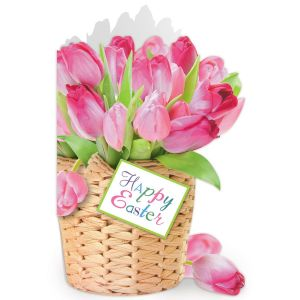 Diecut Pink Tulip Easter Faith Cards
