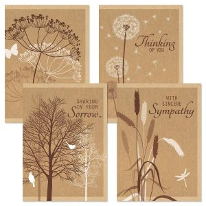 Kraft Sympathy Greeting Cards and Seals