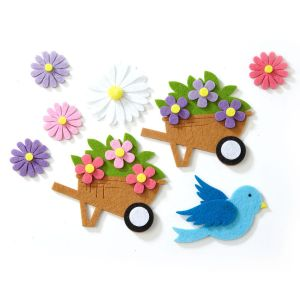 Birds and Wheelbarrows Self-Stick Dimensional Felt Shapes