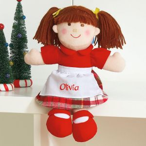 Brunette Hair Christmas Doll