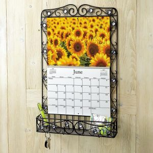 Black Daisy Metal Calendar Holder