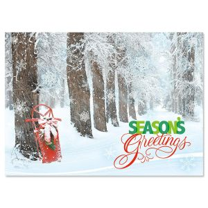 Sled in Trees Nonpersonalized Christmas Cards - Set of 18
