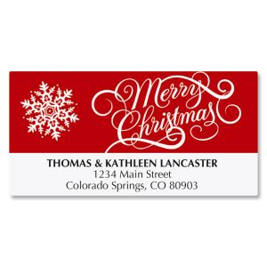 Merry Christmas with Snowflake Address Labels