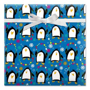 Playful Penguins Jumbo Rolled Gift Wrap