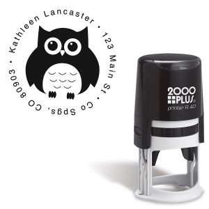 Owl Round Self-Inking Address Stamp