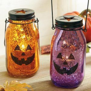 Glass Jack-O'-Lantern Tealight Holder