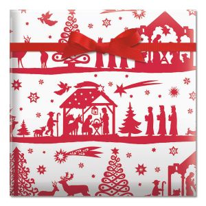 Red and White Nativity Jumbo Rolled Gift Wrap