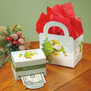 Snowman Scene Money Dispenser and Gift Bag Set