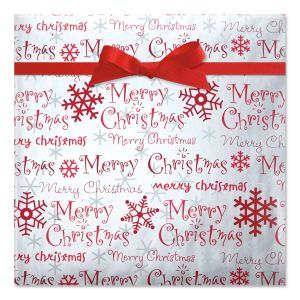 Merry Christmas Script Foil Rolled Gift Wrap
