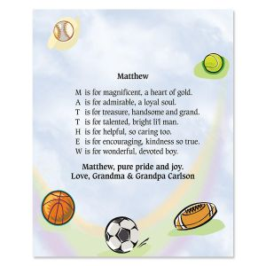 Sports Balls Name Poem Print
